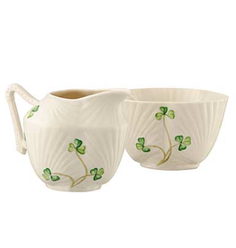TEAPOTS, MUGS & ACCESSORIES BELLEEK HARP SHAMROCK SUGAR & CREAMER SET