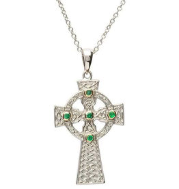 CROSSES SHANORE CELTIC CROSS with GREEN STONES