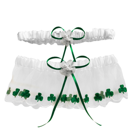 WEDDING SHAMROCK GARTER - GREEN