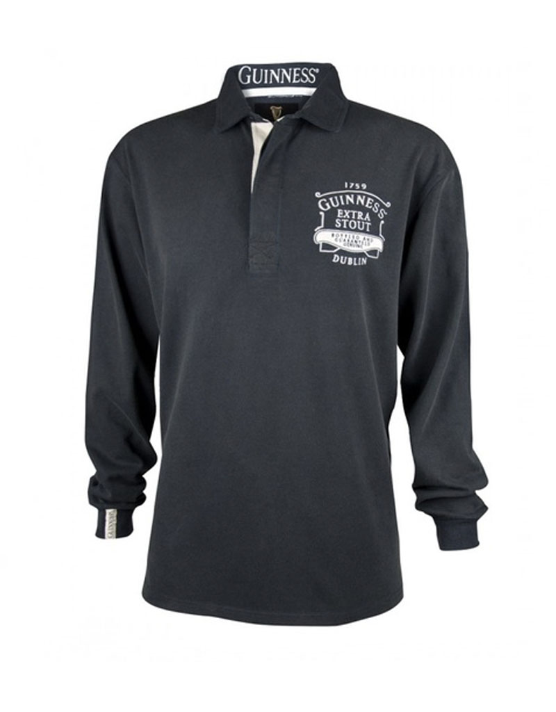 MISC NOVELTY GUINNESS CLASSIC BLACK WASHED RUGBY JERSEY