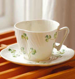 TEAPOTS, MUGS & ACCESSORIES BELLEEK SHAMROCK HARP CUP & SAUCER