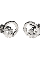 MENS JEWELRY FACET STERLING CLADDAGH CUFFLINKS