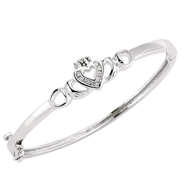 BABY ACCESSORIES FACET STERLING CLADDAGH HINGE BABY BANGLE with CZ HEART