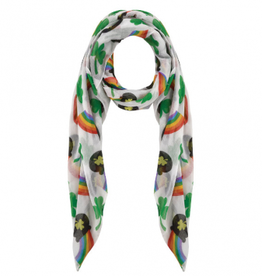 ST PATRICK'S DAY NOVELTY RAINBOW & SHAMROCK SCARF