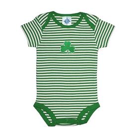 BABY CLOTHES SHAMROCK STRIPED ONESIE
