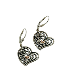 EARRINGS CLEARANCE - KEITH JACK STERLING & ROSE GOLD HEART EARRINGS - FINAL SALE