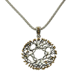 PENDANTS & NECKLACES KEITH JACK STERLING & 18K LRG CIRCLE TREE OF LIFE PENDANT