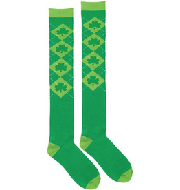 ST PATRICK'S DAY NOVELTY SHAMROCK ARGYLE KNEE SOCKS