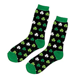 ST PATRICK'S DAY NOVELTY SHAMROCK CREW SOCKS - BLACK