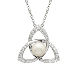 PENDANTS & NECKLACES SHANORE STERLING PAVE TRINITY PENDANT with PEARL