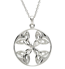 PENDANTS & NECKLACES SHANORE CELTIC CIRCLE TRINITY STERLING with CZ PENDANT