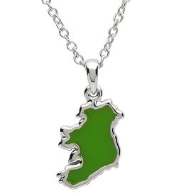 PENDANTS & NECKLACES PlatinumWare GREEN ENAMEL MAP OF IRELAND PENDANT