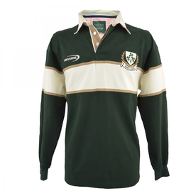 SHIRTS LANSDOWNE ADULT LONG SLEEVE RUGBY - Bottle Grn/Natural