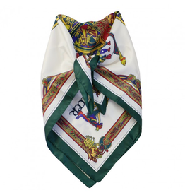 ACCESSORIES BOOK of KELLS SQUARE SIGNATURE SCARF - Bottle Grn/Red/Purple