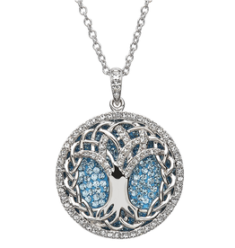 PENDANTS & NECKLACES SHANORE STERLING AQUAMARINE TREE OF LIFE PENDANT with SWAROVSKI CRYSTALS