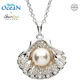 PENDANTS & NECKLACES OCEAN STERLING SHELL PENDANT w. PEARL & CRYSTALS