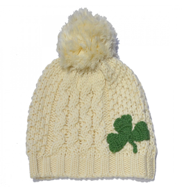 CAPS & HATS PATRICK FRANCIS - KIDS KNIT HAT with POM-POM & SHAMROCK