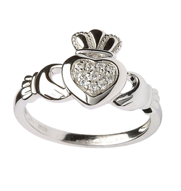 MISC NOVELTY CLEARANCE - SHANORE STERLING SILVER PAVE CZ CLADDAGH RING - FINAL SALE