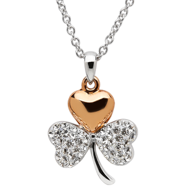PENDANTS & NECKLACES SHANORE STERLING SHAMROCK PENDANT with SWAROVSKI CRYSTALS