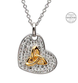 PENDANTS & NECKLACES SHANORE STERLING & GOLD-TONE TRINITY PENDANT with SWAROVSKI CRYSTALS