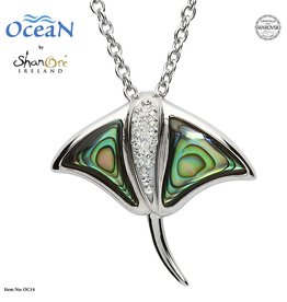 PENDANTS & NECKLACES OCEAN STERLING STING RAY w. ABALONE SHELL & CRYSTALS