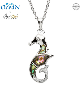 PENDANTS & NECKLACES OCEAN STERLING SEA HORSE PENDANT w. ABALONE SHELL & CRYSTALS