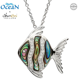 PENDANTS & NECKLACES OCEAN STERLING FISH PENDANT w. ABALONE SHELL & CRYSTALS