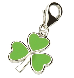 CHARMS CLEARANCE - TARA'S DIARY STERLING & GREEN ENAMEL SHAMROCK CHARM - FINAL SALE