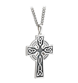 CROSSES SOLVAR STERLING & OXYDIZED DOUBLE SIDED CROSS with STAINLESS-STEEL CHAIN