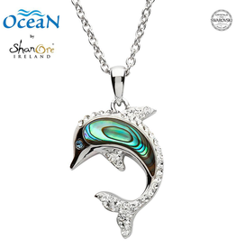 PENDANTS & NECKLACES OCEAN STERLING DOLPHIN PENDANT with ABALONE & SWAROVSKI CRYSTALS