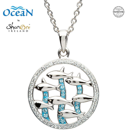 PENDANTS & NECKLACES OCEAN STERLING FISH PENDANT with SWAROVSKI CRYSTALS