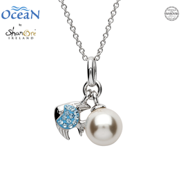 PENDANTS & NECKLACES OCEAN STERLING MINI FISH PENDANT with PEARL & AQUA SWAROVSKI CRYSTALS
