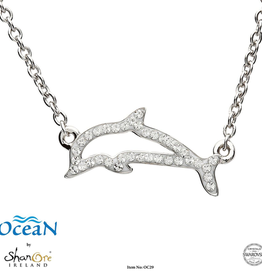 PENDANTS & NECKLACES OCEAN STERLING DOLPHIN NECKLET with SWAROVSKI CRYSTALS