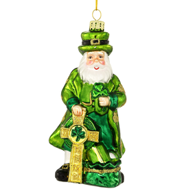 ORNAMENTS IRISH SANTA with CROSS GLASS ORNAMENT