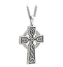 CROSSES SOLVAR OXIDIZED STERLING DOUBLE SIDED TRINITY CROSS with STAINLESS-STEEL CHAIN