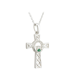 CROSSES SOLVAR STERLING CLADDAGH CROSS PENDANT with GREEN STONE