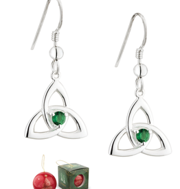 EARRINGS SOLVAR CHRISTMAS BAUBLE & PLATED TRINITY EARRINGS with STONE