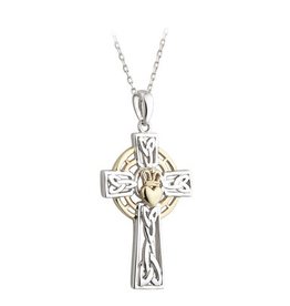 CROSSES SOLVAR SILVER & 10K GOLD CELTIC CROSS PENDANT with CROWNED HEART