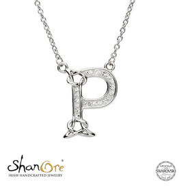 PENDANTS & NECKLACES CLEARANCE - SHANORE STERLING INITIAL PENDANT with SWAROVSKI CRYSTALS: P - FINAL SALE