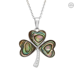 PENDANTS & NECKLACES SHANORE STERLING SHAMROCK PENDANT with ABALONE & SWAROVSKI CRYSTALS