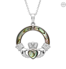 PENDANTS & NECKLACES SHANORE STERLING CLADDAGH PENDANT with ABALONE & SWAROVSKI CRYSTALS