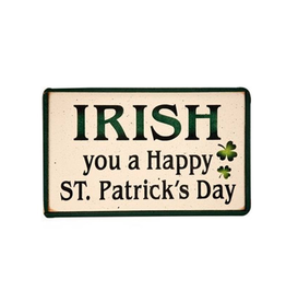 """PLAQUES, SIGNS & POSTERS """"IRISH YOU A HAPPY ST. PATRICK'S DAY"""" WOODEN SIGN"""