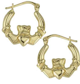 EARRINGS SOLVAR 10K CLADDAGH HOOP EARRINGS