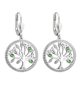 EARRINGS SOLVAR STERLING CRYSTAL ILLUSION TREE of LIFE EARRINGS