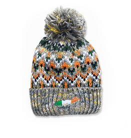 ACCESSORIES CARLETON LI GREY SPECKLE POM BEANIE
