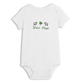 "BABY CLOTHES ""WEE ONE"" ONESIE with RUFFLES"