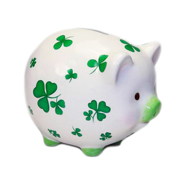 DECOR ROLLY-POLLY PIGGY BANK with SHAMROCKS