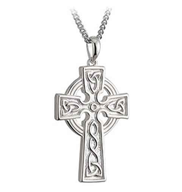 CELTIC CROSSES SOLVAR STERLING DOUBLE SIDED TRINITY CROSS with STAINLESS-STEEL CHAIN
