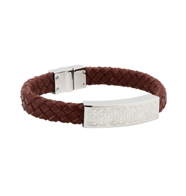 BRACELETS & BANGLES SOLVAR CELTIC MAN STAINLESS & BROWN LEATHER BRACELET