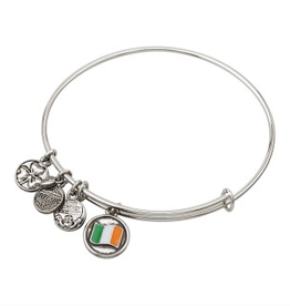 BRACELETS & BANGLES CLEARANCE - SOLVAR SILVER TONE FLAG CHARM BANGLE - FINAL SALE